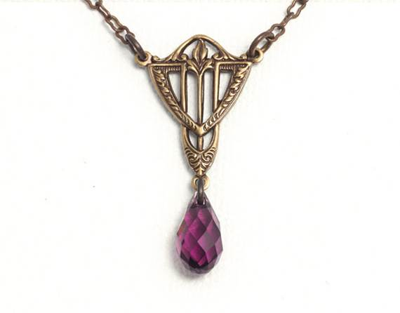 Art Deco golden-brown antiqued brass necklace with purple Swarovski crystal briolette drop - Etsy $26.14