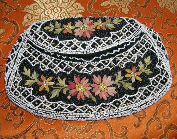 Vintage 1920's black silk purse embellished with French Tambour floral embroidery, clear micro, pearls and white seed beading - Etsy $150.31